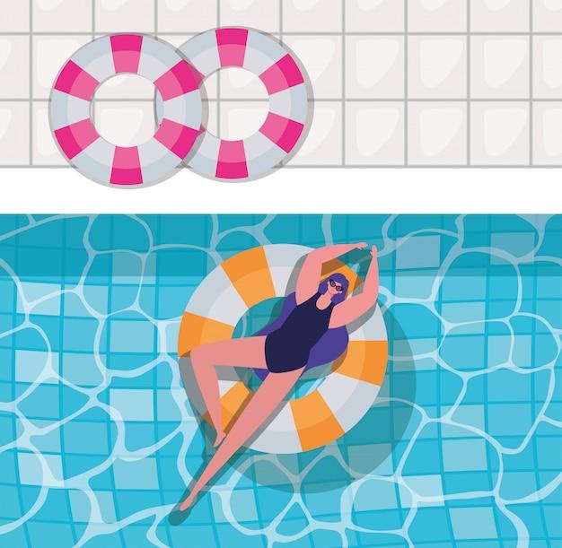Desenho de menina na bóia no design de vetor de vista superior da piscina