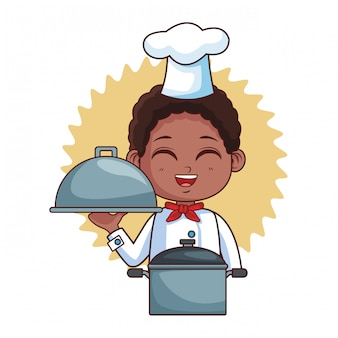 Desenho de menino bonito chef