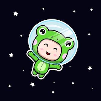 Desenho de menino bonito com fantasia de sapo flutuando no espaço