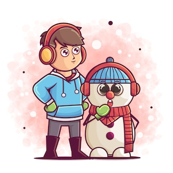 Desenho de menino bonito e boneco de neve posando na ilustração do inverno