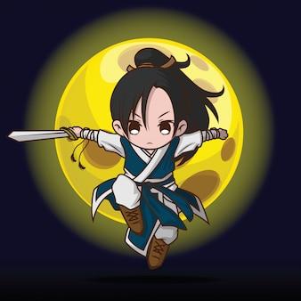 Desenho de menino bonito em traje de mestre de batalha chinês.