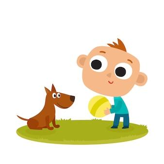 Desenho de menino brincando com cachorro isolado no branco