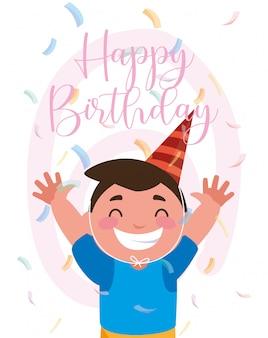 Desenho de menino com chapéu de feliz aniversário