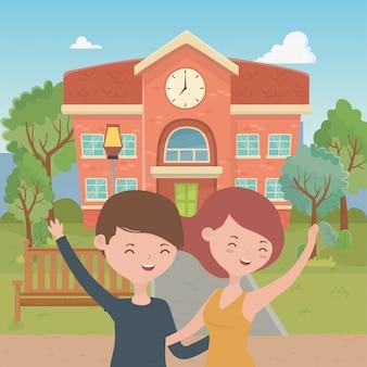 Desenho de menino e menina adolescente