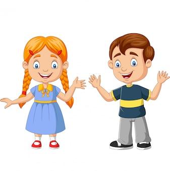 Desenho de menino e menina feliz
