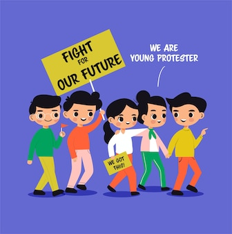 Desenho de menino e menina protestando pelo futuro