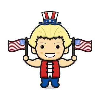 Desenho de menino loiro fofo com estampa dos estados unidos da américa no chapéu e na ilustração de duas bandeiras