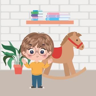 Desenho de menino na ilustração do quarto