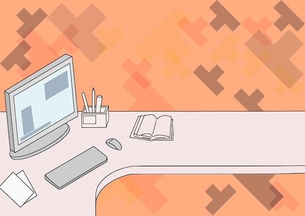 Desenho de mesa de escritório com suporte para caneta de computador e um bloco de notas em branco aberto organizado de forma adequada na mesa