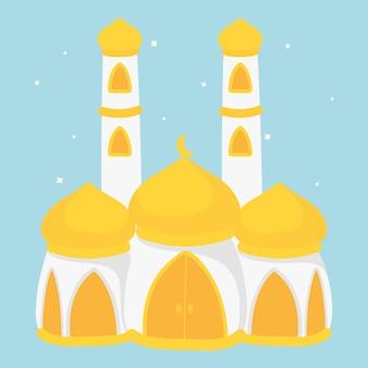 Desenho de mesquita islâmica. mesquita branca com cúpula amarela com dois minaretes altos.