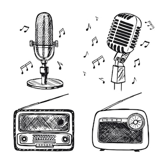 Desenho de microfone retrô ilustração desenhada à mão