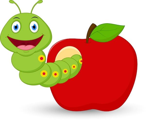 Desenho de minhoca fofa na maçã