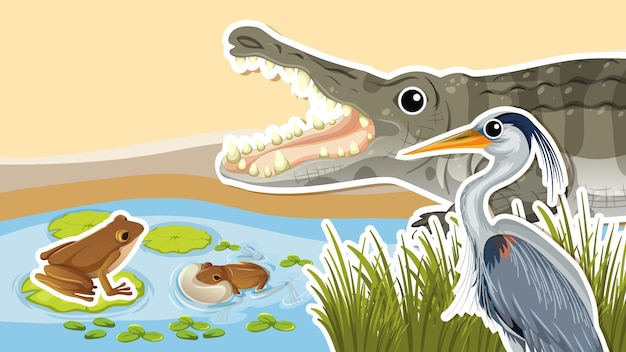 Desenho de miniatura com crocodilo e garça