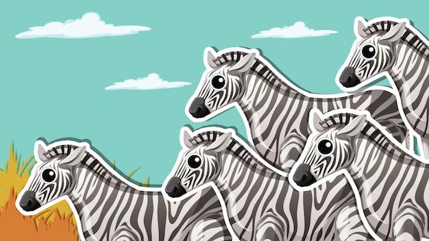 Desenho de miniatura com grupo zebra