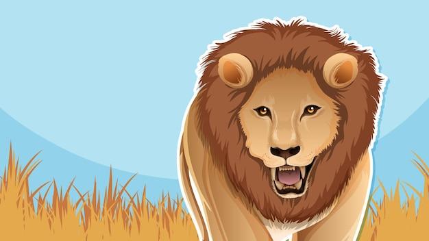Desenho de miniatura com personagem de desenho animado de leão