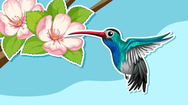 Desenho de miniatura com um pássaro e uma flor