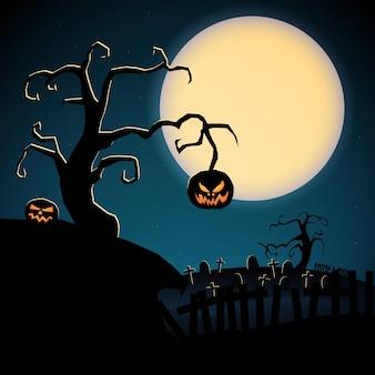Desenho de modelo assustador de feliz halloween com abóboras malvadas de árvore seca e cemitério no fundo da lua