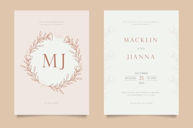 Desenho de modelo de cartão de convite de casamento floral desenhado à mão em estilo de linha de arte