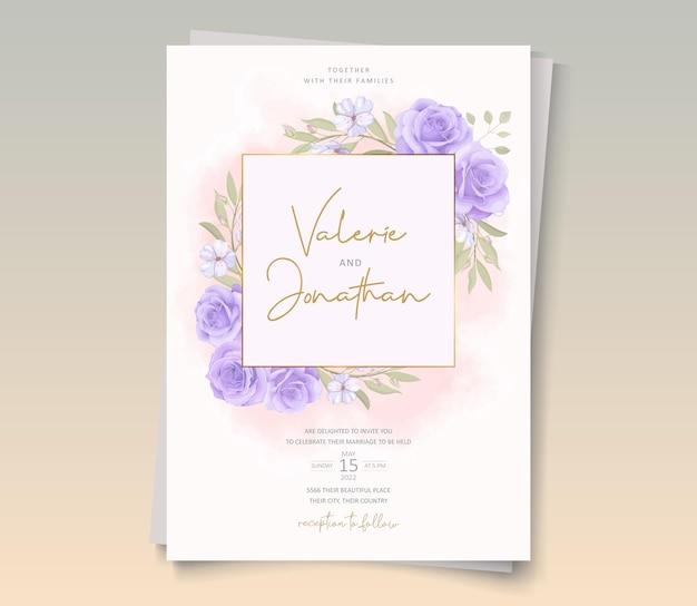 Desenho de modelo de convite de casamento de flor rosa desabrochando
