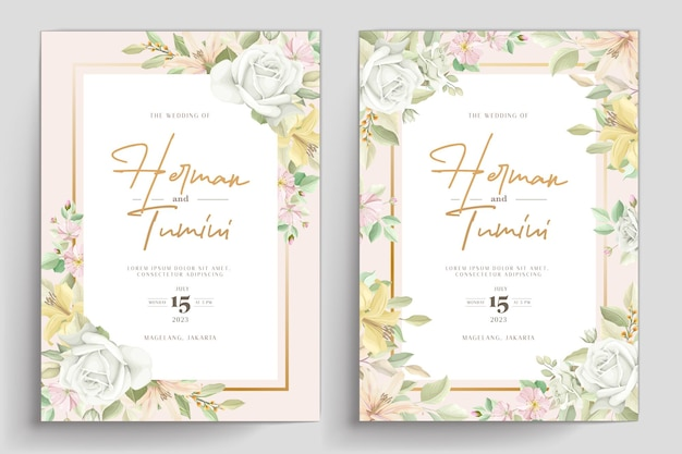 Desenho de modelo de convite de casamento floral desenhado à mão