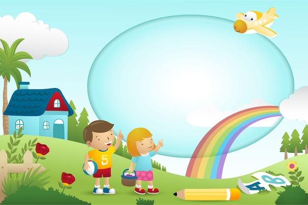 Desenho de modelo de quadro com menino e menina no fundo da natureza