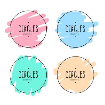 Desenho de moldura de círculos em estilo doodle