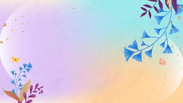 Desenho de moldura de folha de ginkgo em fundo colorido