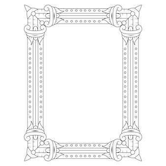 Desenho de moldura em estilo zentangle