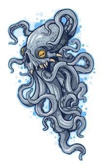 Desenho de monstro alienígena assustador e assustador com tentáculos