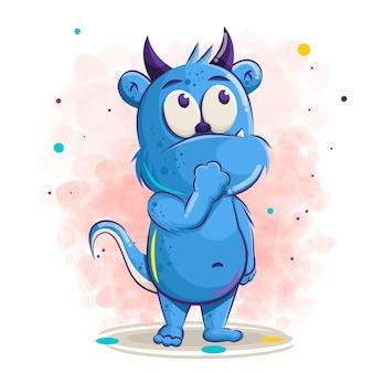 Desenho de monstro azul bonito, ilustração.