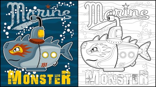 Desenho de monstro de robôs marinhos