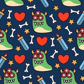 Desenho de monstro fofo doodle padrão sem emenda