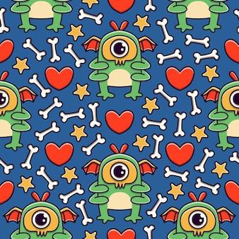 Desenho de monstro kawaii doodle desenho padrão sem emenda