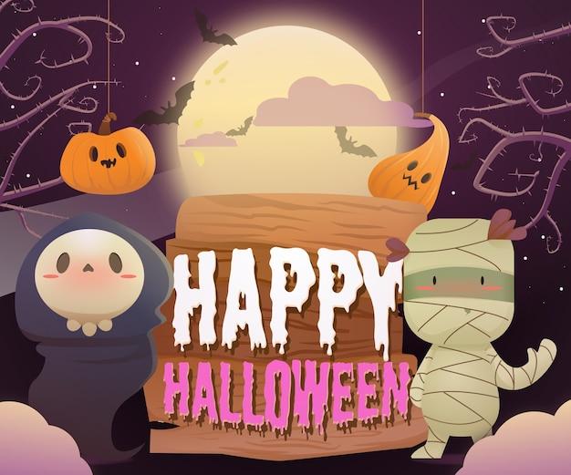 Desenho de monstros de halloween