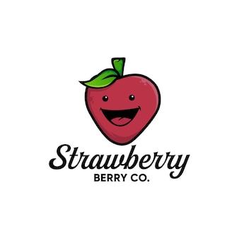Desenho de morango, frutas frescas fofas, vetor de design de logotipo de inspiração