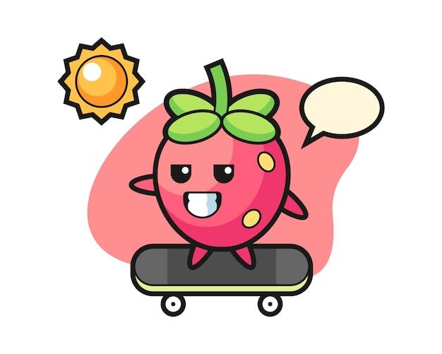 Desenho de morango skate