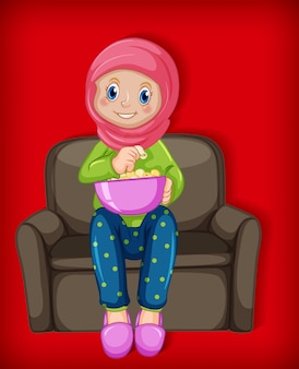Desenho de muçulmano feminino personagem comendo pipoca