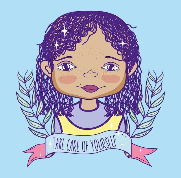 Desenho de mulher bonita com mensagem feminista