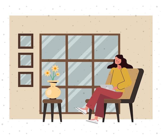 Desenho de mulher com design de laptop em casa, tema tecnologia digital e comunicação