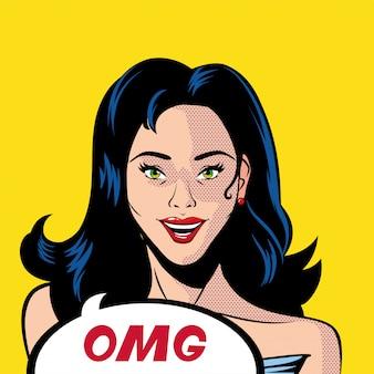 Desenho de mulher de cabelo preto retrô com vetor de bolha omg
