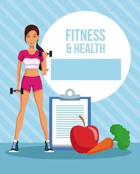 Desenho de mulher de fitness e saúde