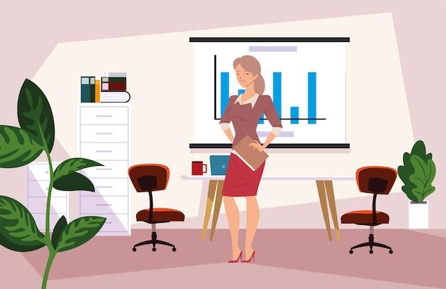 Desenho de mulher de negócios no escritório com quadro infográfico e design de móveis, moda empresarial e tema de gestão