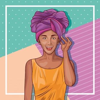 Desenho de mulher jovem pop art