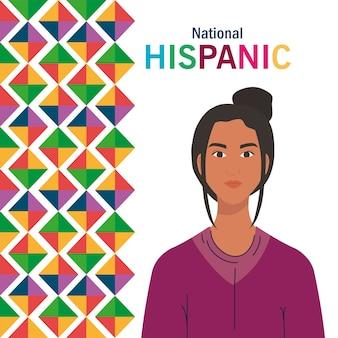 Desenho de mulher latina com design de formas coloridas, mês da herança hispânica nacional e tema cultural
