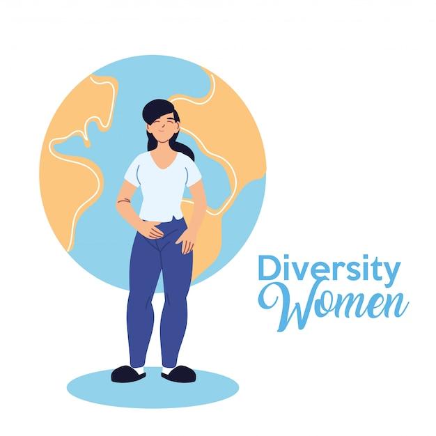 Desenho de mulher latina na frente do mundo design, tema de diversidade cultural e amizade
