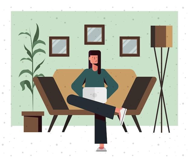 Desenho de mulher no sofá com laptop em casa, tema tecnologia digital e comunicação