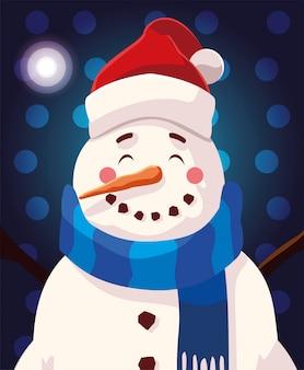 Desenho de natal de boneco de neve com chapéu e cachecol
