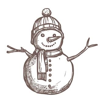 Desenho de natal de boneco de neve. estilo desenhado à mão. decoração festiva de ano novo