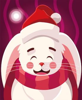 Desenho de natal de coelho com chapéu e cachecol