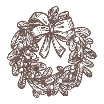 Desenho de natal de coroa de flores. estilo desenhado à mão. decoração festiva de ano novo